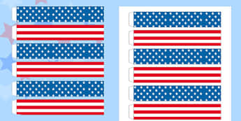 Stars and Stripes Paper Chain - stars, stripes, paper, chain