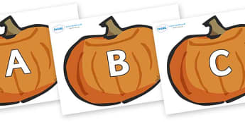 A-Z Alphabet on Pumpkins - A-Z, A4, display, Alphabet frieze, Display letters, Letter posters, A-Z letters, Alphabet flashcards