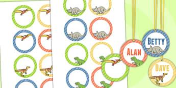 Dinosaur Themed Birthday Party Editable Name Tags - name tags
