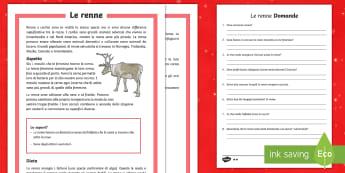 Le renne Lettura Comprensiva - rudolf, babbo, natale, animali, italiano, italian, materiale, scolastico