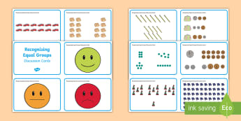 Recognising Equal Groups Discussion Cards - mastery, multiply, divide, reason, arrays, pictorial representations.