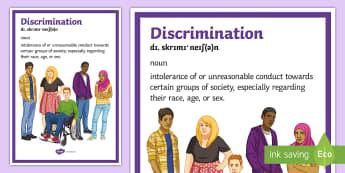 Discrimination Definition A4 Display Poster - Discrimination, discrimination Awareness, Definitions, Disability, SEN
