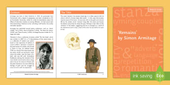 GCSE Poetry Notes for Study to Support Teaching on 'Remains' - simon armitage, power and conflict, AQA, English literature, poem,