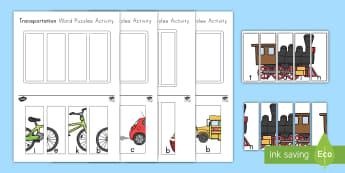 Transportation Word Puzzles Activity - transportation, puzzles, transportation activity, transportation Puzzles, vehicles, cars, trucks, pl