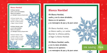 White Christmas Carol Lyrics A4 Display Poster Spanish - song, christmas, singing, lyrics, read