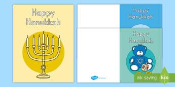 Hanukkah Greeting Cards - Jewish Holiday, Celebration of Lights, Creative Writing, Holiday Celebrations, Independent Writing