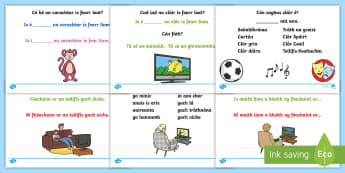 What Is Your Favourite TV Programme? Activity Sheet Gaeilge - Teilifis, Cé,n clár teilifíse is fearr leat, clár teilifís, worksheet