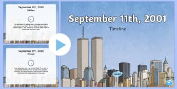 September 11th Order of Events Timeline PowerPoint - Patriot Day, September 11th, World Trade Center, powerpoint, timeline, order of events