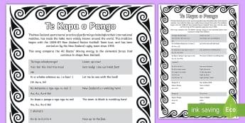 Te Kapa o Pango Haka Song - Te Reo Maori/English - all blacks, rugby, haka, te reo maori