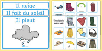 Cartes de vêtements à trier selon le temps - french, clothes sorting activity, weather and the seasons, clothes, weather, seasons, clothes sorting, weather conditions, pleut, neige, soleil, vêtements, habits, trier, pluie, froid, temps, météo