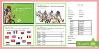 LKS2 Tour of Britain Challenge Cards - LKS2 Tour of Britain Challenge Cards - km, kilometres, m, metres, cm, centimetres, average, averages