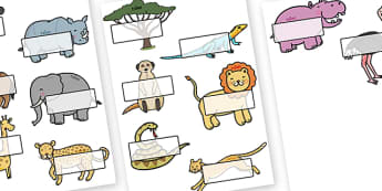 Editable Self-Registration Labels (Safari Animals) - Display, editable, label, topic, Safari, Safari Animals, self registration, lion, cheetah, puma, jaguar, rhino, hippo, elephant