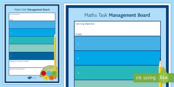 Maths Task Management Display Poster - Educational Needs, Activity, Timeline, Prepare,
