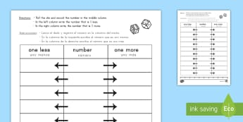 One More One Less Dice Worksheet / Activity Sheet US English/Spanish (Latin) - One More One Less Dice Worksheet / Activity Sheet - dice games, numeracy, numracy, fewer, worksheet