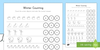 Winter Counting Activity Sheet - seasons, number recognition, number skills, math, early math ,worksheet