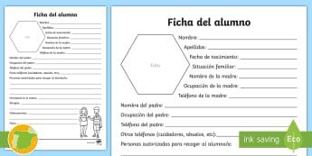 Ficha del alumno - ficha de la alumna, información, alergías, organización del profesor, vuelta al cole, primer día