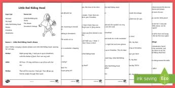 Little Red Riding Hood Playscript - KS1, English, playscripts, traditional tales, little red riding hood, drama, reading, play, script