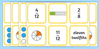 Fraction Matching Game - fractions, fractions game, fractions activity, fractions matching cards, ks2 numeracy, ks2 numeracy matching cards