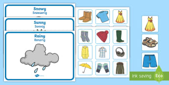 Weather Clothes Sorting Activity English/Afrikaans - Rain, rainy, snow, snowy, sun, sunny, temperatures, EAL