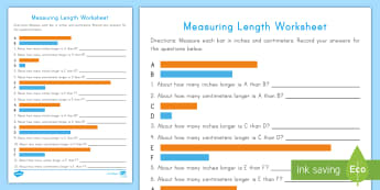 Measuring Length Activity Sheet - measurement, Length, centimeters, Inches, Estimation