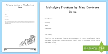 Multiplying Fractions by Tiling Dominos Game - Multiplication, fractions, tiling, 5th grade, graph paper, game