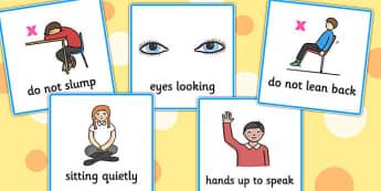 Good Sitting Cards - Good sitting, listen, education, home school, child development, children activities, free, kids