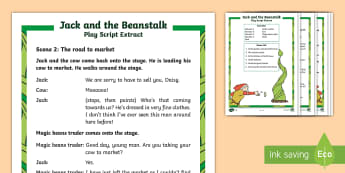 KS1 Jack and the Beanstalk Differentiated Play Script Extracts - SEO English Resources (please check as normal), Jack and the beanstalk, jack and the beanstalk, KS1