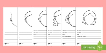 Drawing and Describing Faces Differentiated Activity Sheets - faces, art, english, writing, pshe, classroom management, emotion, expresssion, drawing, description