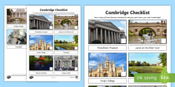 Cambridge Checklist Activity Sheet - Worksheet, day trip, sightseeing, tourist, landmarks, city, travel, Holiday