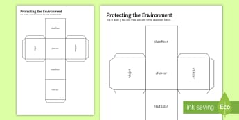 Protecting the Environment Higher Tier Dice Net Spanish - planet, pollution, future, sentences, building, game