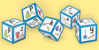 Phase 1 Alphabet Sound Dice with Images and British Sign Language