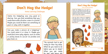 Don't Hog the Hedge Home Learning Challenges Nursery FS1 - Early Years, EYFS, Twinkl originals, Fiction, homework, home learning, Hoje school links, parents, b