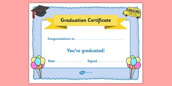 School Graduation Certificate - End of the School Year Graduation Activities