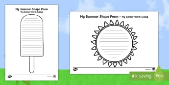 Summer Shape Poetry English/Afrikaans - seasons, weather, warm, temperature, holiday, seisoene, EAL