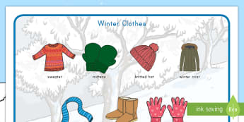 Winter Clothes Word Mat - winter, clothes, word mat, vocabulary