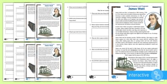 Scottish Scientist and Engineer James Watt Differentiated Comprehension Go Respond  Worksheet / Activity Sheets - CfE, science week, STEM, Scot, Scottish, Scotland, watt, horsepower, famous Scots, significant indiv