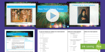 New Year's Eve in France Differentiated Quiz Activity Pack French - cultural awareness, new year, nouvelle année, reading, comprehension,French