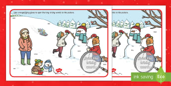 Phase 4 and 5 Tricky Words Christmas Scene Magnifying Glass Activity Sheet - Phase 4 & 5 Tricky Words Christmas Scene Magnifying Glass Activity Sheet - phase 4 & 5, phase four,