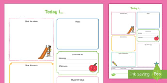 Today I... Daily Diary for Preschoolers Record - Daily sheet, daily diary, daily record, care sheet, daily communication, daily sheet, baby diary