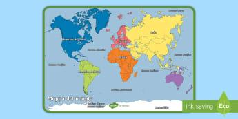 Mappa del mondo Poster - geografia, mappa, continenti, nazioni, italiano, italian, materiale, scolastico