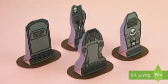 Simple 3D Halloween Gravestones Display Paper Craft