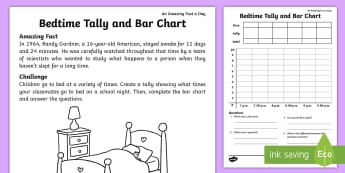 Sleep Tally and Bar Chart Activity Sheet - july amazing fact, maths, data handling, KS1, worksheet