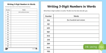 Place Value Writing 3-Digit Numbers in Words Activity Sheet-Scottish, worksheet