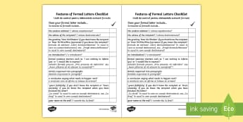 Formal Letter Writing Checklist English/Romanian - Formal Letter Writing Checklist - formal letter writing, writing a formal letter, formal letter chec