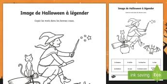 Feuille d'activités : Image de la sorcière de Halloween à légender - Sorcier, Sorcière, Halloween, Français, copie écriture, Cycle 1, Cycle 2