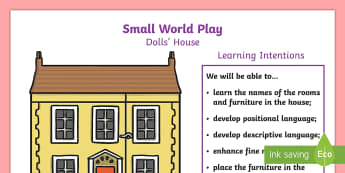 NI P.B.L. Small World Dolls\' House - Learning Intentions A4 Display Poster - play-based learning, PBL, Doll's House, character, figures,