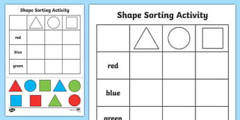 Shape Sorting Cut and Paste Activity Sheet - shapes, motor skills, 2D shape, square, circle, triangle, numeracy, shapes, 2d, sorting
