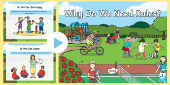 Why Do We Need Rules? Early Level PowerPoint - class charter, 0-23a, sharing, taking turns, class contract, understanding, justice, fairness,