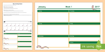 Worm Feeding Roster Week to a Page Calendar - Sustainability, worm feeding, eco, phse, looking after, responsibilities, class responsibilities, ec
