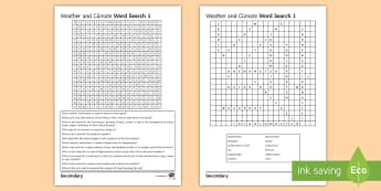 Weather and Climate Word Search - Weather, Climate, Wordsearch, Key words, Definitions